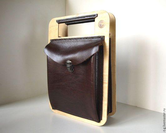 Сумки и аксессуары ручной работы. Ярмарка Мастеров - ручная работа. Купить кожаная деревянная сумка (2). Handmade. Коричневый, карманы