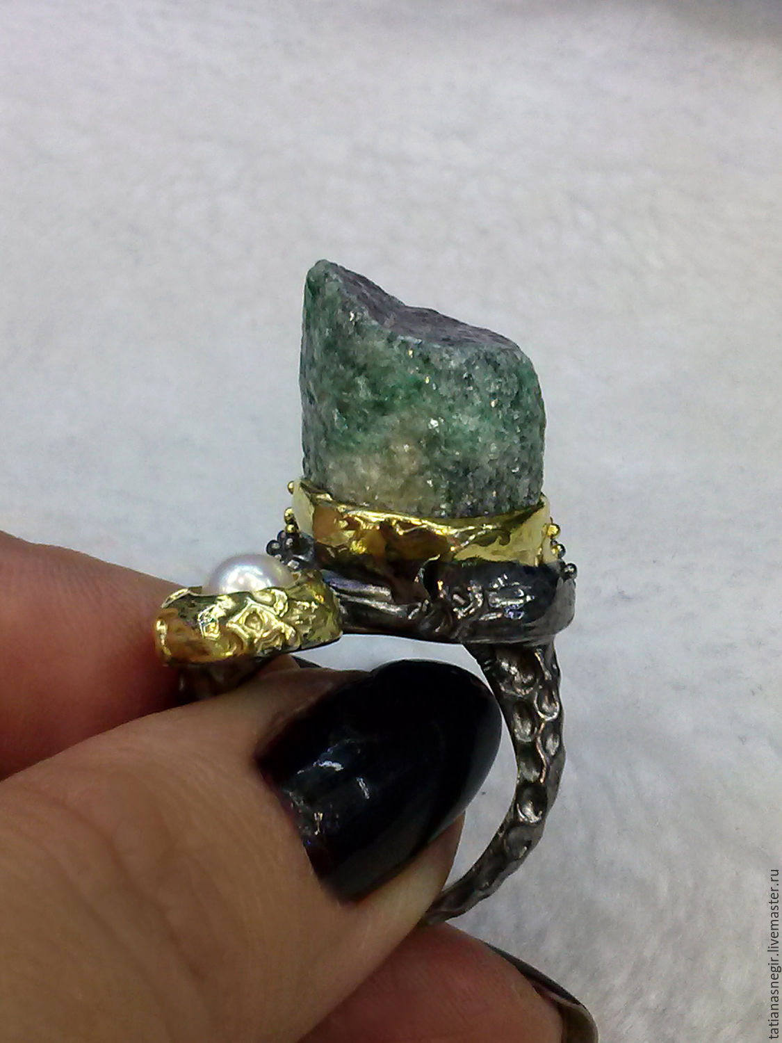 A ring with a ruby crystal in zoisite, 925 sterling silver, Rings, Lytkarino,  Фото №1