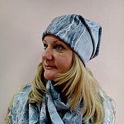 Аксессуары handmade. Livemaster - original item Cap felted Grey stripes. Handmade.