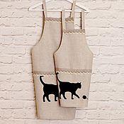 """Фартуки ручной работы. Ярмарка Мастеров - ручная работа Комплект фартуков для мамы и дочки """"Cat"""". Handmade."""