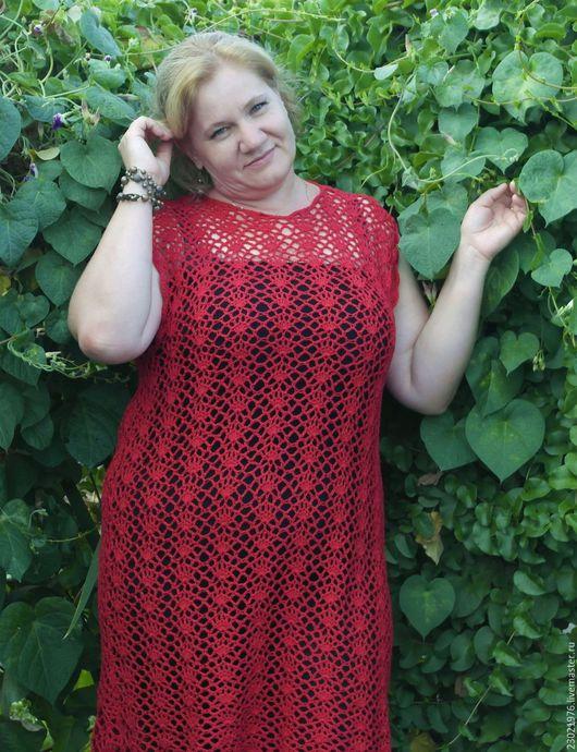Большие размеры ручной работы. Ярмарка Мастеров - ручная работа. Купить платье туника Каммила. Handmade. Ярко-красный
