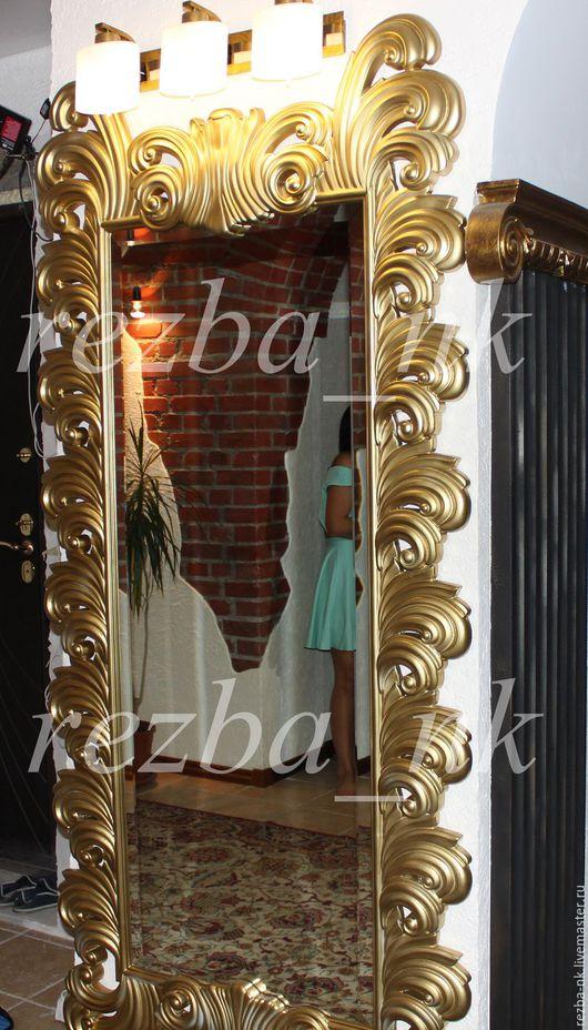 Зеркала ручной работы. Ярмарка Мастеров - ручная работа. Купить Рама резная из дерева для зеркала. Handmade. Золотой, дерево