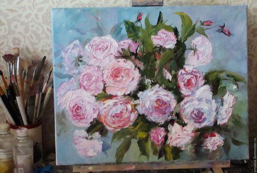 Картины цветов ручной работы. Ярмарка Мастеров - ручная работа. Купить РОЗОВЫЙ ВЕТЕР!!!Масло,холст. Handmade. Розовый, розовые цветы