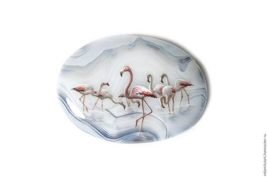 Роспись по камню ручной работы. Ярмарка Мастеров - ручная работа. Купить Стая фламинго на тиманском агате. Handmade. Фламинго, птицы