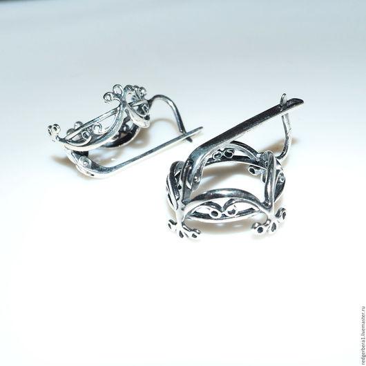 """Для украшений ручной работы. Ярмарка Мастеров - ручная работа. Купить Основа для серег """"Злата""""(20 мм) - серебрение 925 пробы. Handmade."""