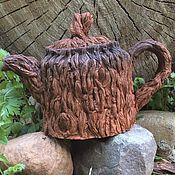 Посуда ручной работы. Ярмарка Мастеров - ручная работа Чайник Лесными тропами керамика. Handmade.