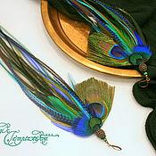 Украшения handmade. Livemaster - original item Long emerald blue earrings with large peacock feathers. Handmade.