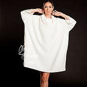 Одежда ручной работы. Ярмарка Мастеров - ручная работа Белая макси оверсайз туника, короткое платье, свитер, топ с рукавами. Handmade.