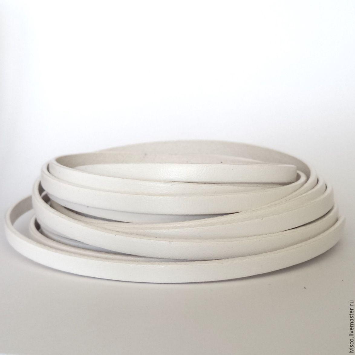 Кожаный шнур 5х2мм белый матовый, Шнуры, Афины, Фото №1