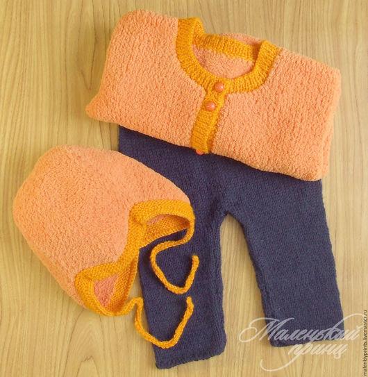 Для новорожденных, ручной работы. Ярмарка Мастеров - ручная работа. Купить Комплект Оранжевое и синее.. Handmade. Комбинированный, тёмно-синий