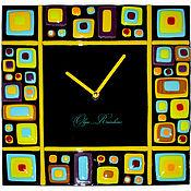 """Для дома и интерьера ручной работы. Ярмарка Мастеров - ручная работа Часы фьюзинг """"Абстракция"""". Handmade."""