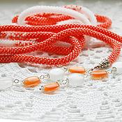 Украшения ручной работы. Ярмарка Мастеров - ручная работа Оранжевый лариат. Handmade.