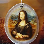 Украшения handmade. Livemaster - original item Pendant painted on the stone Mona Lisa Leonardo da Vinci lacquer miniature. Handmade.
