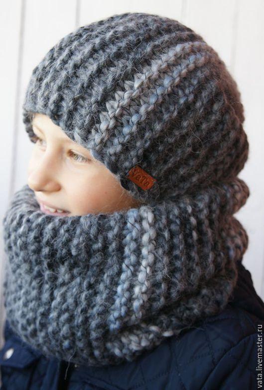 вязаная шапка и снуд из толстой пряжи, вязаная шапка на зиму, вязаная шапка и снуд спицами, вязаная шапка и снуд ручной вязки