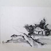 Картины и панно ручной работы. Ярмарка Мастеров - ручная работа картина пезаж Дереня весной суми-е. Handmade.