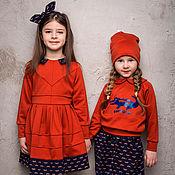 """Работы для детей, ручной работы. Ярмарка Мастеров - ручная работа Трикотажное платье+ободок """"CROCOCO Red"""". Handmade."""