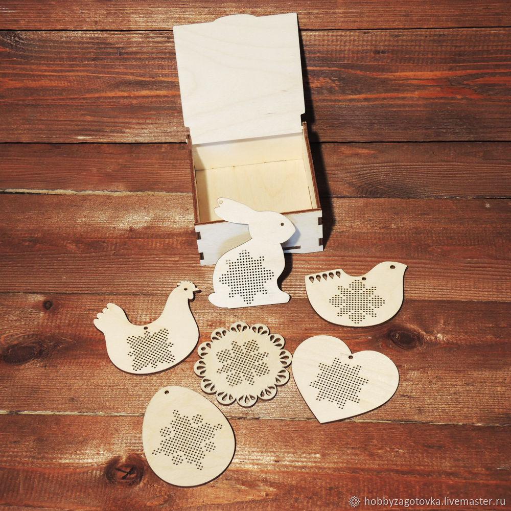 Пасхальный набор деревянных игрушек для вышивания, 6 шт, Аксессуары для вышивки, Ступино,  Фото №1