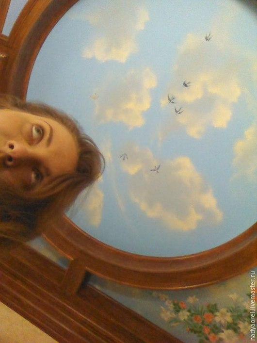 """Декор поверхностей ручной работы. Ярмарка Мастеров - ручная работа. Купить Роспись потолка """"Облака и розы"""". Handmade. Голубой"""