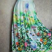 """Одежда ручной работы. Ярмарка Мастеров - ручная работа Юбка """"Летний сад"""",длинная,из трикотажа. Handmade."""