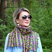 Аксессуары handmade. Livemaster - original item Felted scarf Rainbow net, air light scarf, 30 x 145 cm. Handmade.
