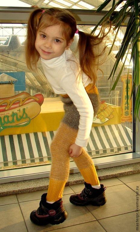 Штаны детские вязаные арт.№30дск зимние теплые «Подсолнечник». Штаны детские из собачьего пуха . Штаны на рост ребенка 96 – 105см