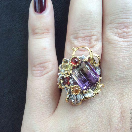Кольца ручной работы. Ярмарка Мастеров - ручная работа. Купить Роскошное кольцо с аметрином. Handmade. Сиреневый, подарок девушке