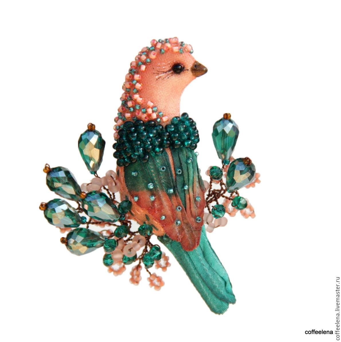 Брошь птичка из бисера мастер класс с пошаговым для начинающих