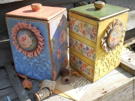 Кухня ручной работы. Ярмарка Мастеров - ручная работа. Купить Короб Уютный. Handmade. Желтый, винтаж, короб декупаж