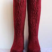 Обувь ручной работы. Ярмарка Мастеров - ручная работа Валяные сапожки Shibori (Бордо). Handmade.