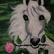 Картины и панно ручной работы. Ярмарка Мастеров - ручная работа Белый конь с розой. Handmade.