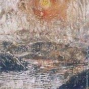 """Картины и панно ручной работы. Ярмарка Мастеров - ручная работа """"Утренний туман"""",авторская  монотипия, картина. Handmade."""