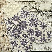 Аксессуары ручной работы. Ярмарка Мастеров - ручная работа Варежки вязаные с орнаментом Зимнее утро белые. Handmade.