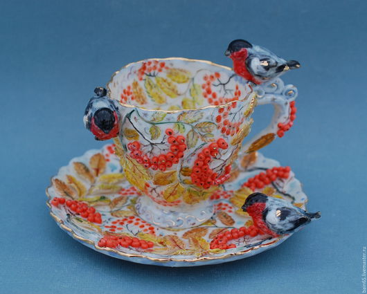 """Сервизы, чайные пары ручной работы. Ярмарка Мастеров - ручная работа. Купить Чайная пара """"Снегири"""". Handmade. Чайная пара"""