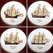 """Винтаж handmade. Livemaster - original item Редкие тарелки серии """"Корабли первооткрывателей"""", Royal Worcester. Handmade."""