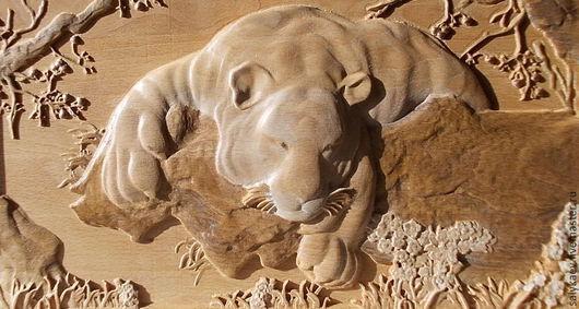 Животные ручной работы. Ярмарка Мастеров - ручная работа. Купить Тигр.. Handmade. Резное панно, подарок на день рождения