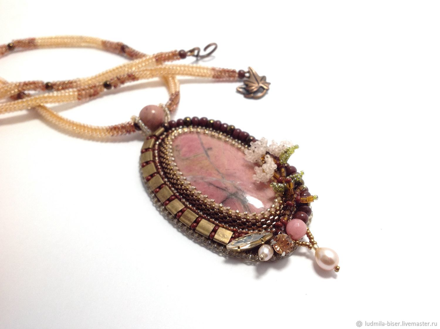 Pendant with rhodonite 'Spring dawn', Pendants, Moscow,  Фото №1