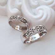 handmade. Livemaster - original item Paired Wedding Rings with patterns, White gold (Ob26). Handmade.