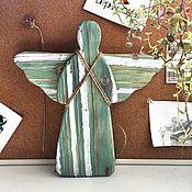 Подвески ручной работы. Ярмарка Мастеров - ручная работа Ангел хранитель деревянный сине- серебряный средний. Handmade.
