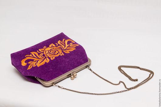 Женские сумки ручной работы. Ярмарка Мастеров - ручная работа. Купить Вечерняя сумочка клатч с вышивкой Дамаск на фермуаре, на цепочке. Handmade.