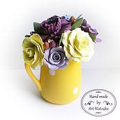 Цветы и флористика ручной работы. Ярмарка Мастеров - ручная работа Букет в  желтом молочнике. Handmade.