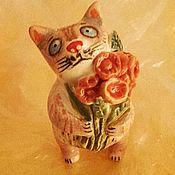 Керамический котик с цветами