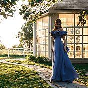 """Одежда ручной работы. Ярмарка Мастеров - ручная работа """"Мелодия""""длиное платье в пол синего цвета с воланами.Натуральная ткань. Handmade."""