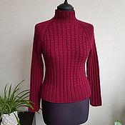 Одежда handmade. Livemaster - original item Hand-knitted Burgundy turtleneck made from 100% cashmere. Handmade.