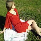 Одежда ручной работы. Ярмарка Мастеров - ручная работа Платье вязаное крючком Red wine. Handmade.