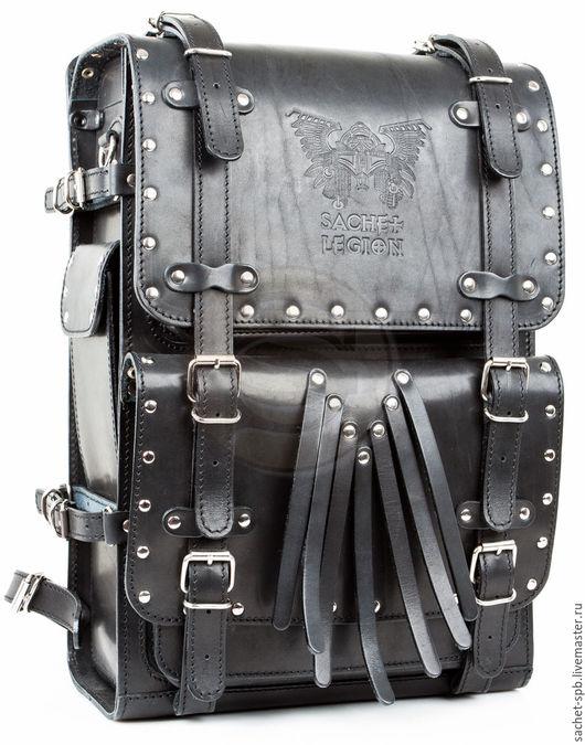 """Рюкзаки ручной работы. Ярмарка Мастеров - ручная работа. Купить Мужской кожаный рюкзак """"Легион- Харлей"""" черный. Handmade. Черный"""