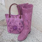 Обувь ручной работы. Ярмарка Мастеров - ручная работа Комплект - Сапожки и сумка из войлока.. Handmade.