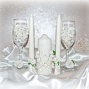 Свадебный салон handmade. Livemaster - original item Wedding glasses, candle, jewelry box for rings. Handmade.