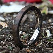 Деревянное кольцо с белым золотом DZ002