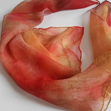 Аксессуары ручной работы. Ярмарка Мастеров - ручная работа Платки: шейный платочек Осень- это ярко! Натуральный шелк.Батик. Handmade.