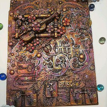"""Картины и панно ручной работы. Ярмарка Мастеров - ручная работа Панно- ключница """"Музыка вашего дома"""". Handmade."""